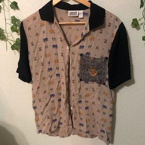 Vintage Printed Button Down Top